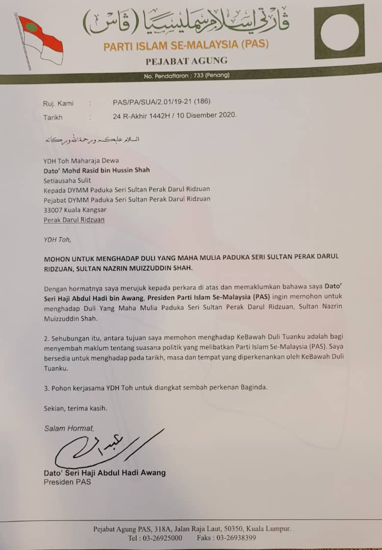 A letter from PAS had apparently been sent to the palace yesterday requesting time, date and venue convenient to Perak Sultan Nazrin Muizzuddin Shah for an audience. – The Vibes pic, December 11, 2020