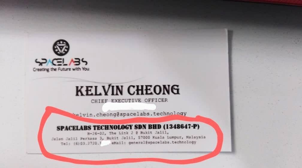 Supposed office address of Spacelabs as shown on the business card. Pic courtesy of a source.