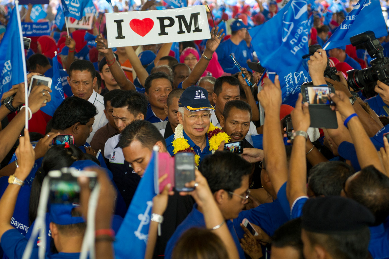 Najib notes that, during his leadership in GE13, Umno increased its share of seats to 89 and recaptured Kedah, Perak, and Terengganu, despite losing the popular vote. – AFP pic, May 16, 2021