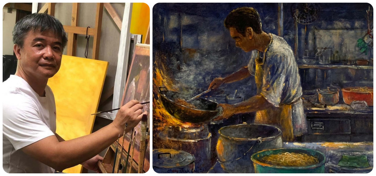 (L) Cheng Tak, Lui. The 54-year-old artist is known for detailing historical buildings, culture and heritage on canvas. — Pic courtesy of pinkguygallery.com