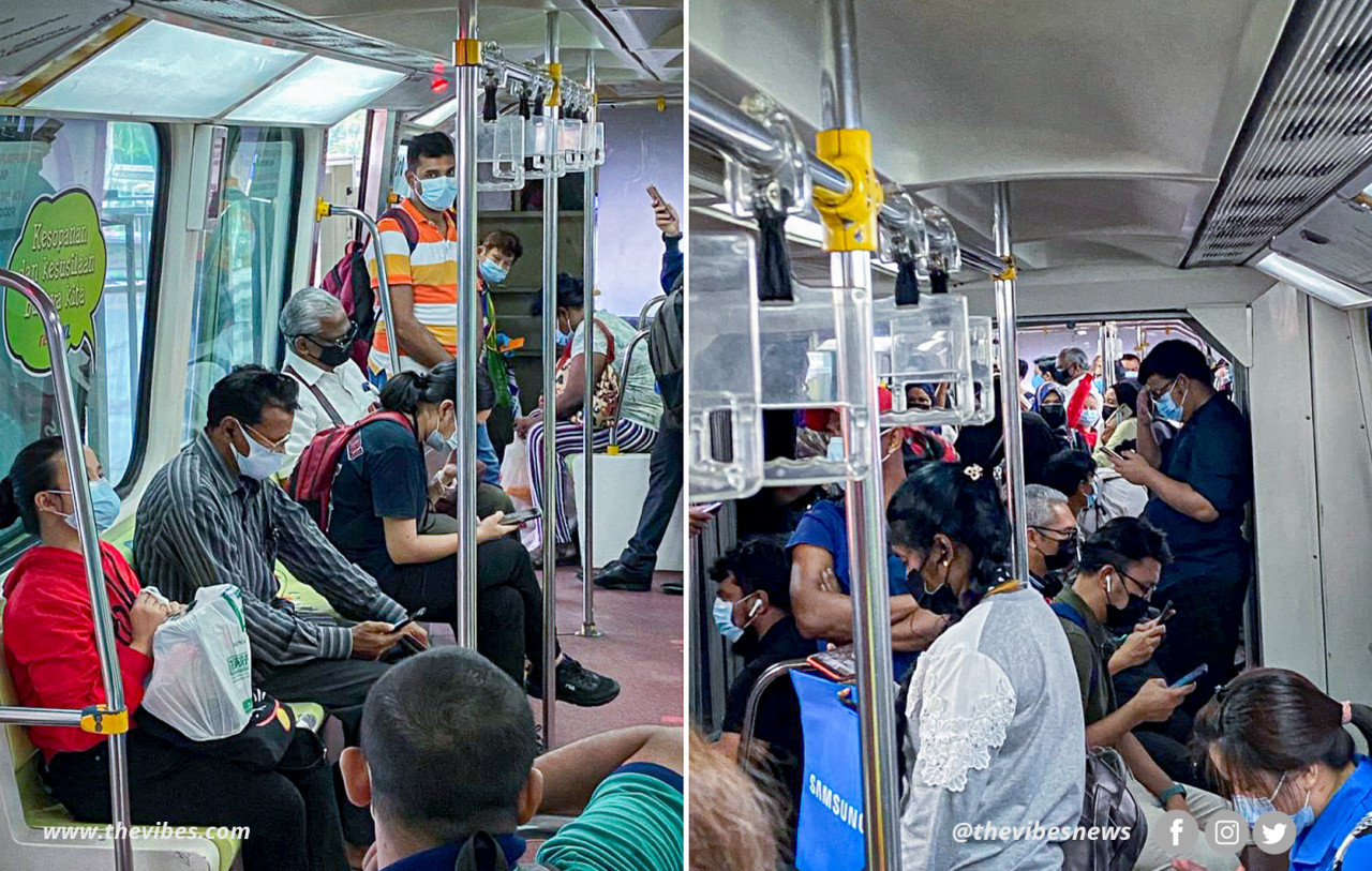 Photos of crowded KL Monorail train carriages during rush hour sent in by a reader of The Vibes. – Reader pic, January 20, 2021