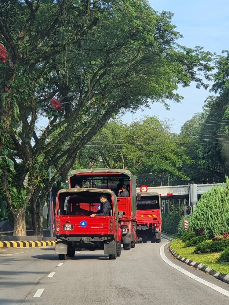 The FRU trucks seen near Parliament today. – Sim Tze Tzin Facebook pic, August 2, 2021