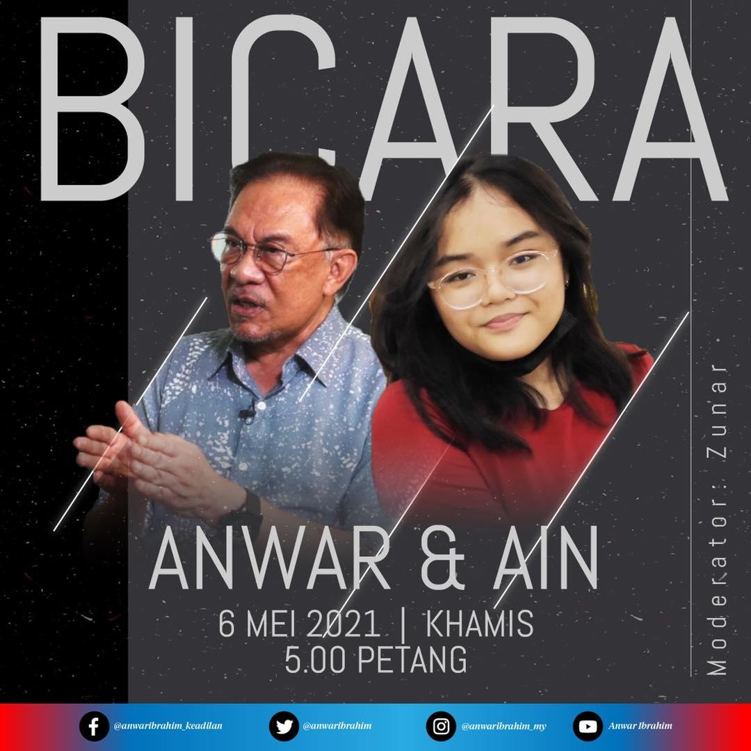 Datuk Seri Anwar Ibrahim and student Ain Husniza Saiful Nizam participated in a Facebook Live talk today. – Anwar Ibrahim Facebook pic, May 6, 2021